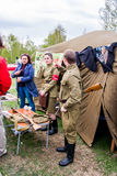 Perm, Russia - May 09.2016: Young people in military uniform Royalty Free Stock Image