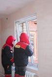 PERM, RUSSIA, NOVEMBER 19.2015:Installation of  plastic window Royalty Free Stock Image