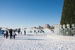 PERM, Russie, février, 06 2016 : La ville glaciale de nouvelle année Image stock