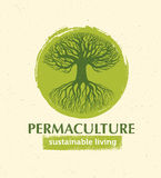 Permaculture Sustainable Living Creative Vector Design Element Concept. Old Tree With Roots Inside Rough Circle Stock Image