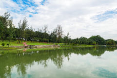 Permaisuri Lake Garden is one of the famous park in Cheras. There is a pathway for people to jogging and exercise. It also known as Taman Tasik Permaisuri stock photography