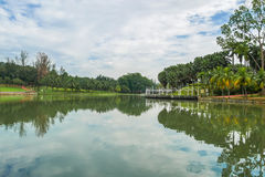 Permaisuri Lake Garden is one of the famous park in Cheras. There is a pathway for people to jogging and exercise. It also known as Taman Tasik Permaisuri stock photo