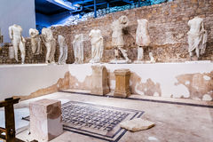 Permanent exhibition in museum that was built on site of ancient Roman temple in ancient town Stock Photos