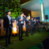 Permanent Fish vocals group in Tokyo. Tokyo, Japan - November 24 2013: Permanent Fish vocals group performs acappella at Tokyo Tower for the early preparation of Stock Photography