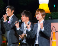 Permanent Fish vocals group in Tokyo. Tokyo, Japan - November 24 2013: Permanent Fish vocals group performs acappella at Tokyo Tower for the early preparation of Stock Photos