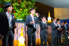 Permanent Fish vocals group at Tokyo Tower. Tokyo, Japan - November 24 2013: Permanent Fish vocals group performs acappella at Tokyo Tower for the early Stock Photo