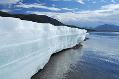 The permanent ice fields in the tideway of the Yakut river. Royalty Free Stock Image