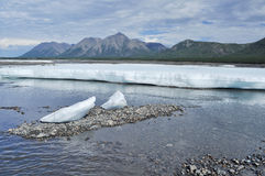 The permanent ice fields in the tideway of the Yakut river. Royalty Free Stock Photo