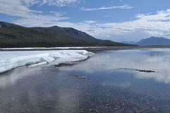 The permanent ice fields in the tideway of the Yakut river. Royalty Free Stock Photography