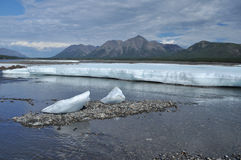 The permanent ice fields in the tideway of the Yakut river. Stock Photo
