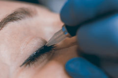 Permanent make up. Cosmetologist applying permanent makeup on ey. Es.  Permanent make up Stock Photography