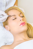Permanent make up on eyebrows. Cosmetologist applying permanent make up on eyebrows Royalty Free Stock Photo