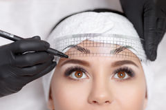 Permanent makeup eyebrows. Mikrobleyding eyebrows workflow in a beauty salon. Cosmetologist applying a special permanent makeup on a woman`s eyebrows Royalty Free Stock Image