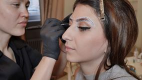 Permanent makeup. Permanent tattooing of eyebrows. Cosmetologist applying permanent make up on eyebrows- eyebrow tattoo. stock footage