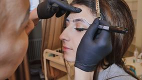 Permanent makeup. Permanent tattooing of eyebrows. Cosmetologist applying permanent make up on eyebrows- eyebrow tattoo. Permanent makeup. Permanent tattooing royalty free stock photos