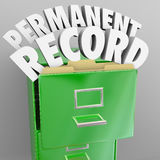 Permanent Record Filing Cabinet Personal Files. A file cabinet with door opening and the words Permanent Record coming out to illustrate files that will follow Stock Photo