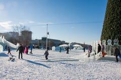 PERMANENT, Rusland, 06 Februari, 2016: De stad van het ijzige nieuwe jaar op Espl Stock Afbeelding