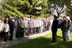 PERMANENT, RUSLAND, 04 JULI 2015: Mensenkosten in een aantal op een vergadering Stock Foto's