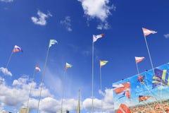 PERMANENT, RUSLAND - JUNI 25, 2014: Driehoekige vlaggen Stock Afbeelding