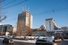 PERMANENT, RUSLAND - Maart 13, 2016: Het landschap van de stadswinter Royalty-vrije Stock Foto