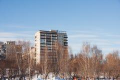 PERMANENT, RUSLAND - Maart 13, 2016: Het landschap van de stadswinter Stock Foto