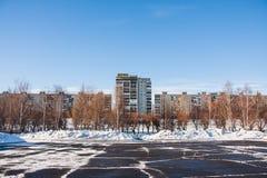 PERMANENT, RUSLAND - Maart 13, 2016: Het landschap van de stadswinter Stock Foto's