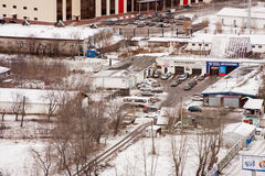 Permanent, 31,2015 Rusland-Oktober: de Stad van Permanent, auto-Zorg centrum Stock Foto's