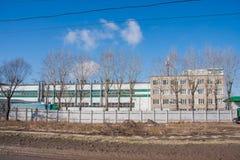 Permanent Ryssland - April 16 2016: Byggnader i produktionen Royaltyfria Bilder