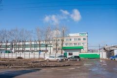 Permanent Ryssland - April 16 2016: Byggnader i produktionen av ind Fotografering för Bildbyråer