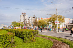 Permanent Ryssland - Maj 09 2016: Stadslandskap på den Lenin gatan royaltyfri foto