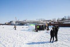 Permanent Ryssland - mars 11 2017: Konkurrenser av fiskare Royaltyfri Bild
