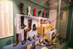 Permanent shoes exhibition in Tampere Finland Royalty Free Stock Photos
