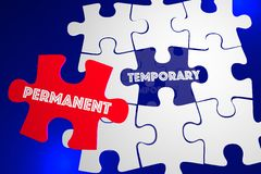 Permanent Vs Temporary Solution Problem Solved Puzzle 3d Illustr. Ation Stock Image