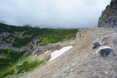 Permanenta glaciärer lägger i bergen i glaciärnationalpark Royaltyfria Foton
