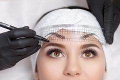 Permanente make-upwenkbrauwen Royalty-vrije Stock Afbeelding