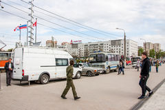 Permanente, Rússia - 9 de maio 2016: Povos em um feriado Fotos de Stock
