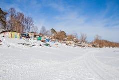 Permanente, Rússia - 11 de março 2017: Yacht club no inverno Fotografia de Stock