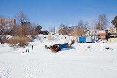 Permanente, Rússia - 11 de março 2017: Yacht club no inverno nos vagabundos Fotos de Stock Royalty Free