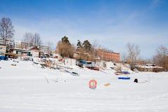 Permanente, Rússia - 11 de março 2017: Yacht club no inverno nos vagabundos Fotografia de Stock Royalty Free