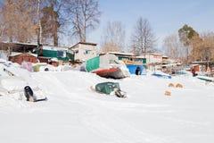 Permanente, Rússia - 11 de março 2017: Yacht club no inverno nos vagabundos Imagem de Stock Royalty Free