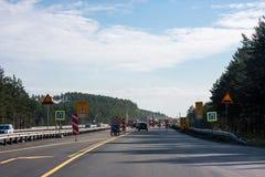 Permanente, Rússia - 24 de setembro 2016: Repare trabalhos na estrada Fotografia de Stock
