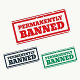Permanently banned sign in three colors Stock Photos