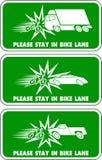 Permanezca por favor en el ejemplo del carril de la bici Foto de archivo libre de regalías