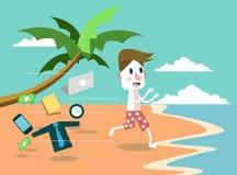 Permesso dell'uomo d'affari tutto e saltando alla spiaggia concetto di festa e di vacanza Immagini Stock