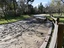 Permesso delle acque di inondazione retrocedere dietro fango e detriti fotografia stock libera da diritti