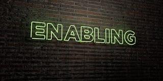 PERMETTERE - insegna al neon realistica sul fondo del muro di mattoni - a 3D ha reso l'immagine di riserva libera della sovranità Immagine Stock Libera da Diritti