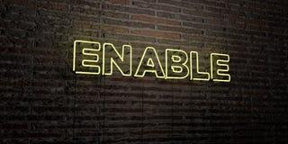 PERMETTEZ - enseigne au néon réaliste sur le fond de mur de briques - l'image courante gratuite de redevance rendue par 3D illustration stock