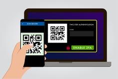Permettez la vérification d'authentification des étapes 2FA deux illustration stock