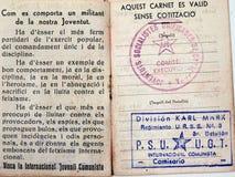 Permis catalan de la division de Karl Marx Guerre civile espagnole images stock