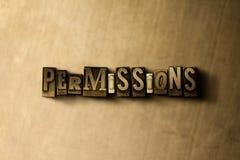 PERMISOS - primer de la palabra compuesta tipo vintage sucio en el contexto del metal Fotos de archivo
